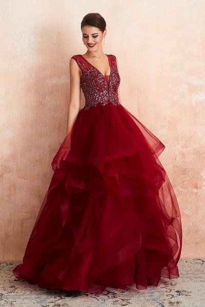 Wonderful V-neck Tulle A-line Prom Dress_7
