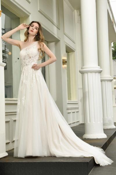 One Shoulder Lace Tulle Backless Wedding Dresses_7