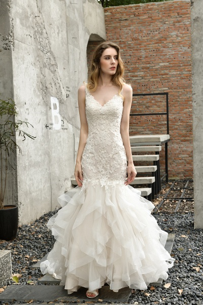 Gorgeous Appliques Mermaid Organza Wedding Dress_1