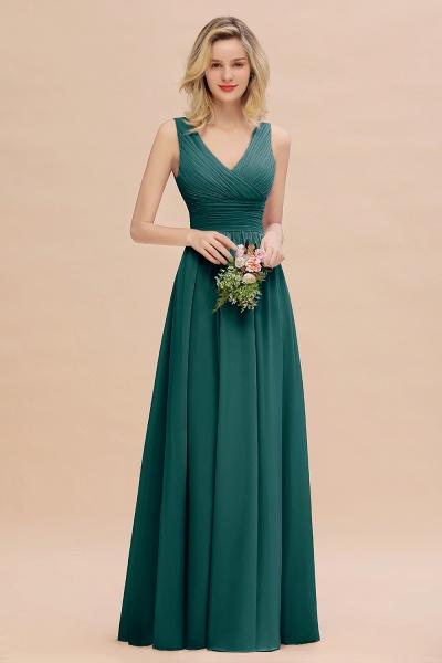 BM0752 Elegant A-line V-Neck Ruffles Long Bridesmaid Dress_33