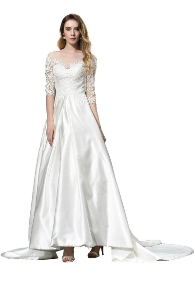 Lace Half Sleeves V Neck Sheer Tulle Wedding Dress_10