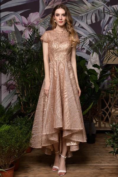 High neck Champange Short Sleeve Sequined Prom Dress_2