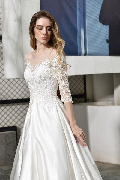 Elegant Lace-up A-Line Applique Satin Wedding Dress_10