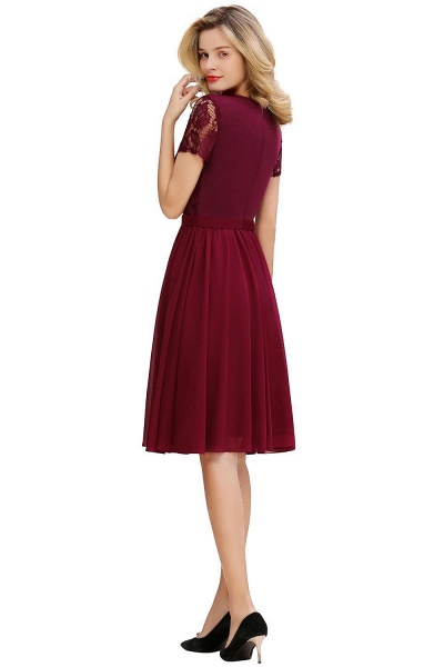Jewel Kee Length Short Sleeves Lace Bridesmaid Dresses | Burgundy Wedding Gues Dresses_2