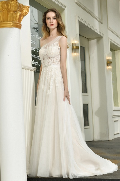 One Shoulder Lace Tulle Backless Wedding Dresses_9