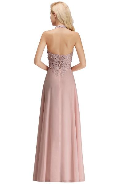 Halter Composite Emulation Silk A-line Floor Length Bridesmaid Dress_31