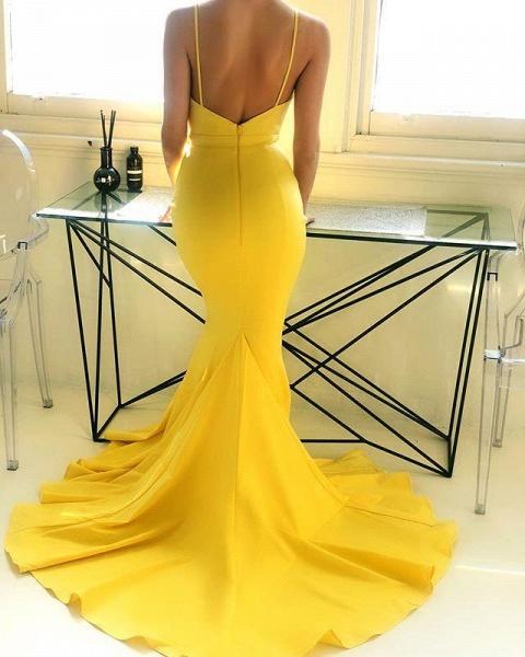 Marvelous Spaghetti Straps Stretch Satin Mermaid Prom Dress_3