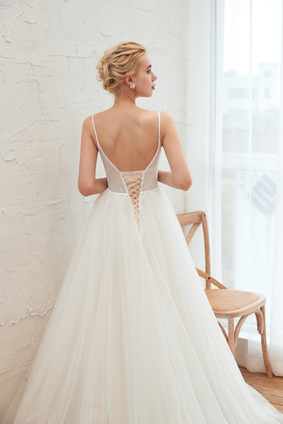 Awesome Spaghetti Strap Tulle A-line Wedding Dress_11