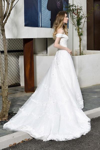 Gorgeous A-Line Lace Off Shoulder Wedding Dress_7