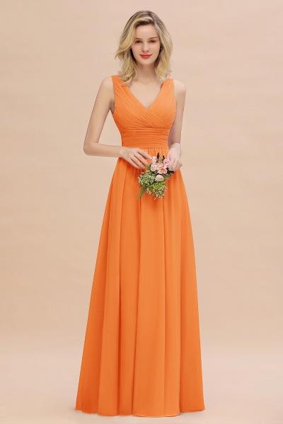 BM0752 Elegant A-line V-Neck Ruffles Long Bridesmaid Dress_15