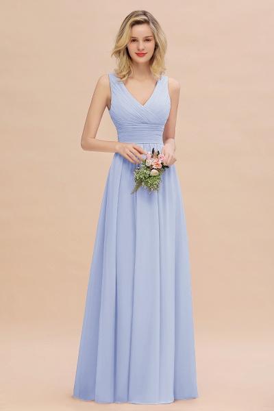 BM0752 Elegant A-line V-Neck Ruffles Long Bridesmaid Dress_22