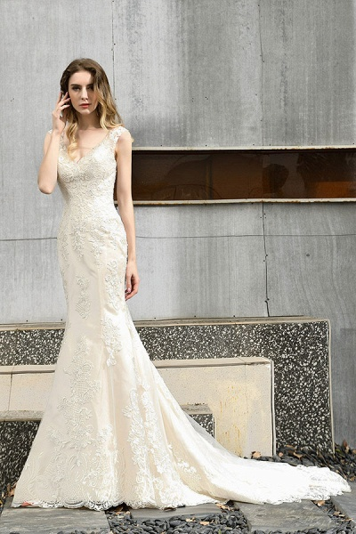 Glamorous Mermaid Satin Lace Open Back Wedding Dress_5
