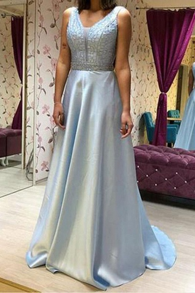 Fabulous V-neck Chiffon A-line Prom Dress_2