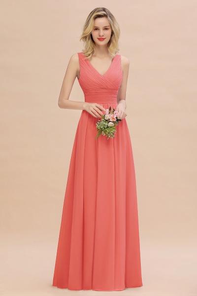 BM0752 Elegant A-line V-Neck Ruffles Long Bridesmaid Dress_7
