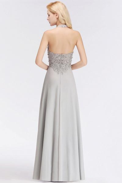 Halter Composite Emulation Silk A-line Floor Length Bridesmaid Dress_7