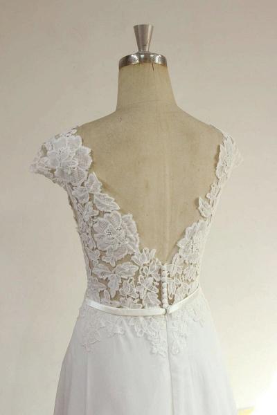 Cap Sleeve Appliques Chiffon A-line Wedding Dress_5
