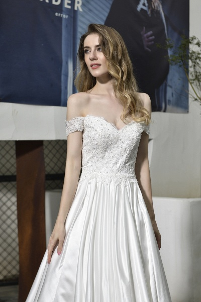 A Line Off the Shoulder Sweetheart Lace Satin Wedding Dress_5
