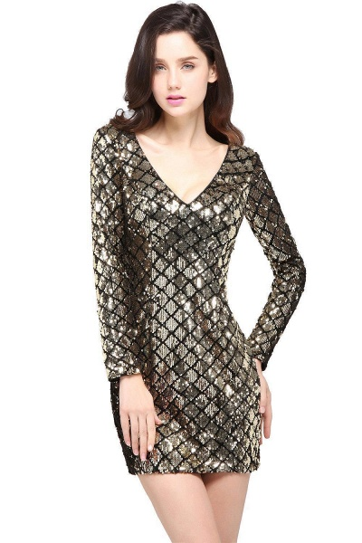 Awesome V-neck Sequined Column Homecoming Dress_1