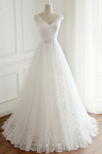 Eye-catching V-neck Lace A-line Wedding Dress_1