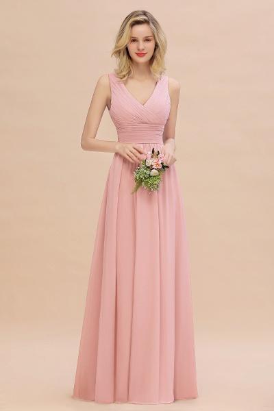 BM0752 Elegant A-line V-Neck Ruffles Long Bridesmaid Dress_4