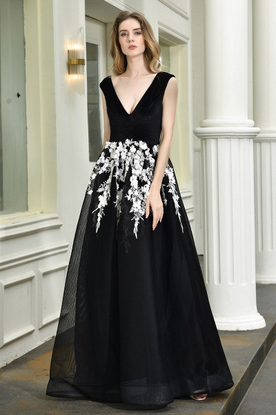 Appliques V-neck Floor Length A-line Prom Dress_8