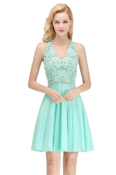 A-line V-neck Sleeveless Appliques Chiffon Short Homecoming Dresses_4
