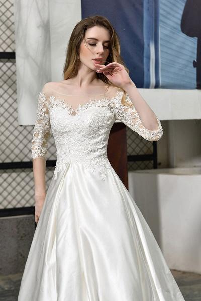 Elegant Lace-up A-Line Applique Satin Wedding Dress_9