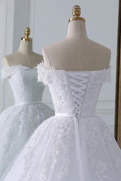 Lace-up Off Shoulder Appliques Tulle Wedding Dress_6