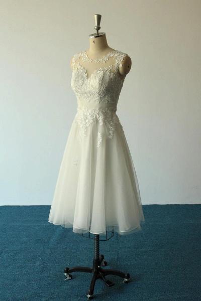 Illusion Lace Tulle A-Line Mini Wedding Dress_4