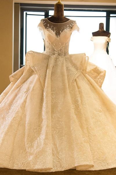 Cap Sleeve Appliques Tulle A-line Wedding Dress_1