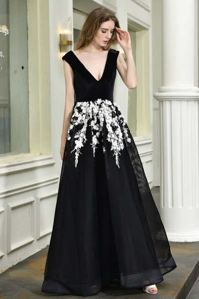 Appliques V-neck Floor Length A-line Prom Dress_7