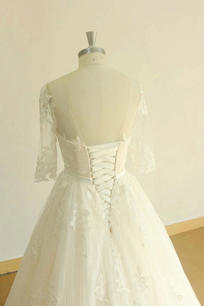Chic Lace-up Appliques Tulle A-line Wedding Dress_5