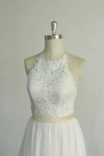 Elegant Halter Lace Tulle A-line Wedding Dress_5
