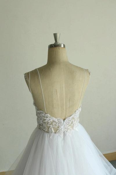Chic Strap Spaghetti Appliques Tulle Wedding Dress_8