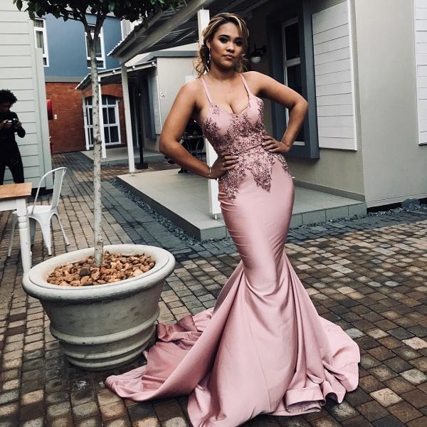 Spaghetti Straps Appliques Sexy Mermaid Prom Dresses | Trendy Long Evening Dresses_3