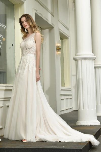 One Shoulder Lace Tulle Backless Wedding Dresses_11