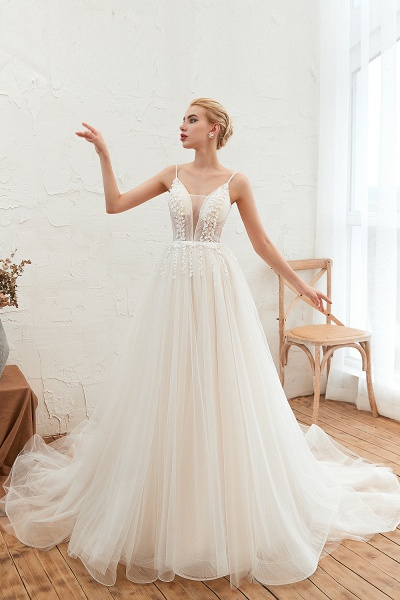 Awesome Spaghetti Strap Tulle A-line Wedding Dress_6