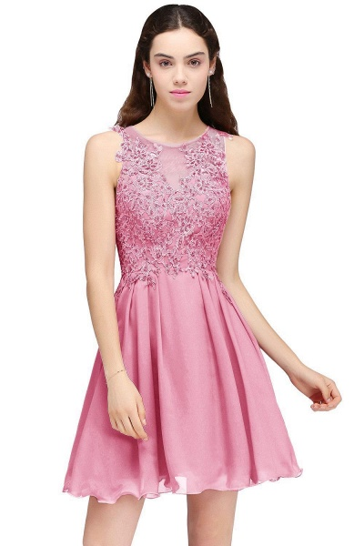 CARLEE | A-line Jewel Short Chiffon Burgundy Homecoming Dresses with Lace Appliques_2