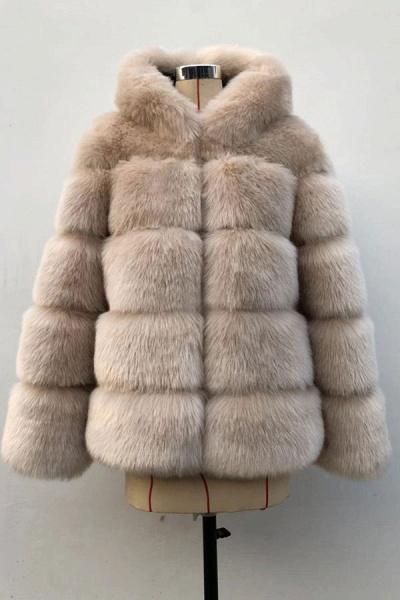 Women's Daily Winter Hooded Faux Fur Coat_4