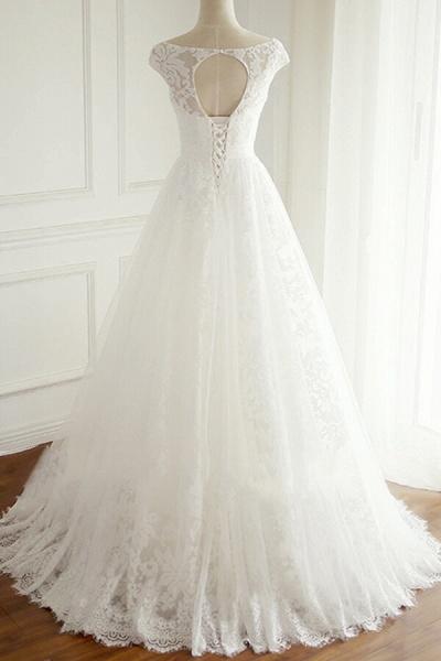 Eye-catching V-neck Lace A-line Wedding Dress_3