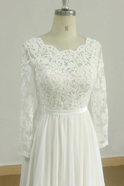 Long Sleeve A-line Lace Chiffon Wedding Dress_4