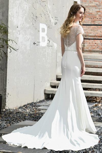 Short Sleeve Lace Mermaid Pearls Wedding Dress With Belt_11