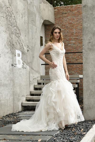 Gorgeous Appliques Mermaid Organza Wedding Dress_4