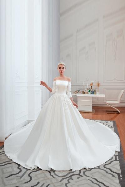 Off Shoulder Lace-up Satin A-line Wedding Dress_7