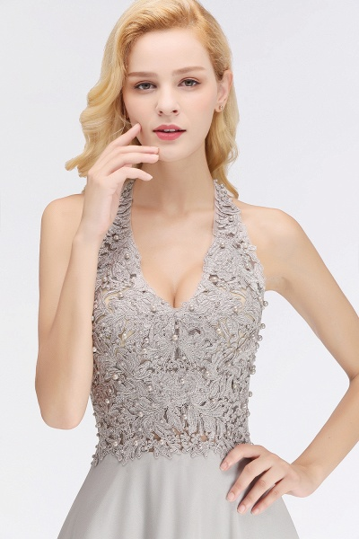 Halter Composite Emulation Silk A-line Floor Length Bridesmaid Dress_12