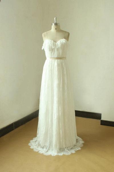 Strapless Lace A-line Floor Length Wedding Dress_1