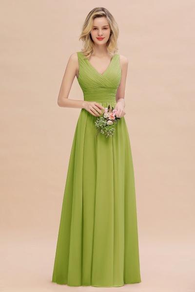 BM0752 Elegant A-line V-Neck Ruffles Long Bridesmaid Dress_34