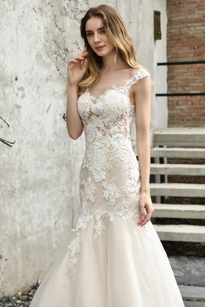 Mermaid Floor Length Lace Tulle Wedding Dresses_3