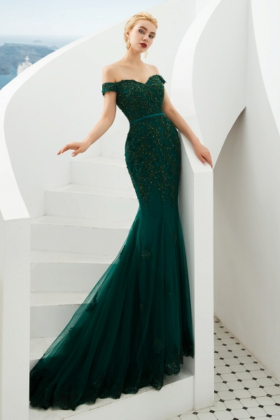 Elegant Off-the-shoulder Tulle Mermaid Prom Dress_10