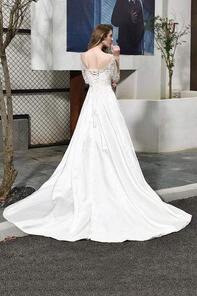 Elegant Lace-up A-Line Applique Satin Wedding Dress_3